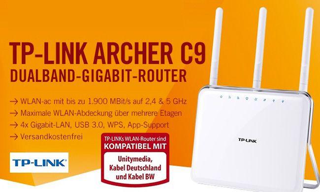 TP LINK Archer C9 AC1900 WLAN Dualband Gigabit Router für 99,90€