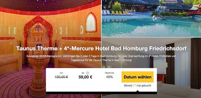 Taunus Therme + Übernachtung im 4 Sterne Hotel mit Frühstück ab 59€ p.P.