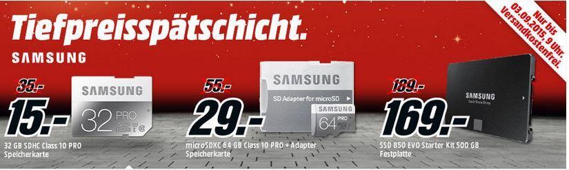 Tiefpreis Samsung Samsung microSDHC 32GB Class 10 Pro + Adapter für nur 15€ in der MediaMarkt SAMSUNG Speicher Tiefpreisspätschicht
