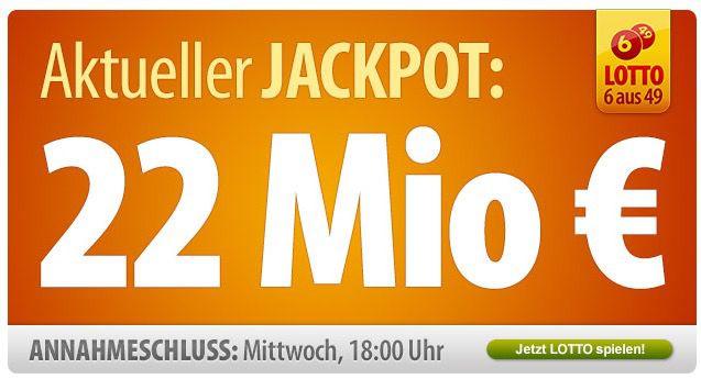 Tipp24 für Neukunden: 7 Felder Lotto 6 aus 49 für nur 1€   Jackpot 22.000.000€   Update