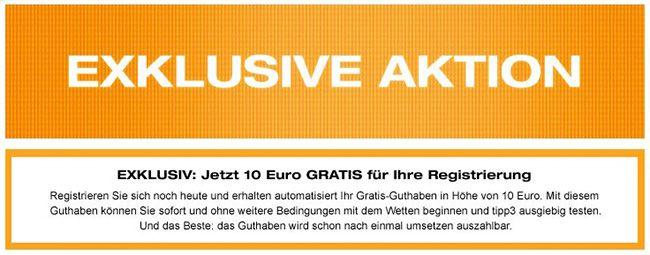 10€ Guthaben für Neukunden bei Tipp3   ggf. mit verdoppelter Einzahlung