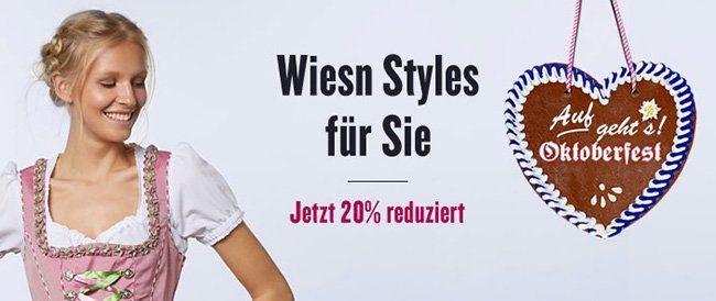 Tom Tailor Wiesn 20% Rabatt aufn Wiesn Styles bei Tom Tailor + 10% Gutschein