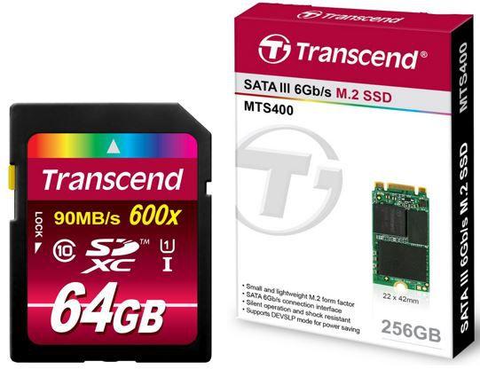 Transcend MTS400 M.2   256GB SSD für 92,90€ oder Transcend SDXC Class 10 UHS 1 64GB Speicherkarte für 29€