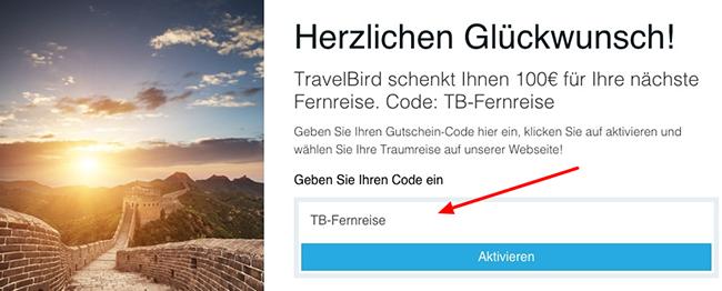 Travelbird Fernreise 100€ Rabatt auf Fernreisen bei Travelbird