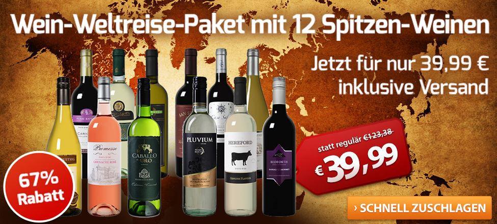 Wein Weltreise Paket mit 12 Flaschen Wein aus 7 Ländern für nur 39,99€