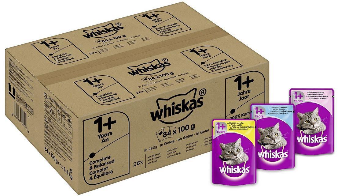 Whiskas   Katzenfutter mit Fisch und Fleischauswahl in Gelee (84 x 100 g) ab 16,14€