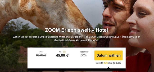 ZOOM Erlebniswelt 1 Tag ZOOM Erlebniswelt + 1 Nacht im 4 Sterne Hotel mit Frühstück für 45€ p.P.