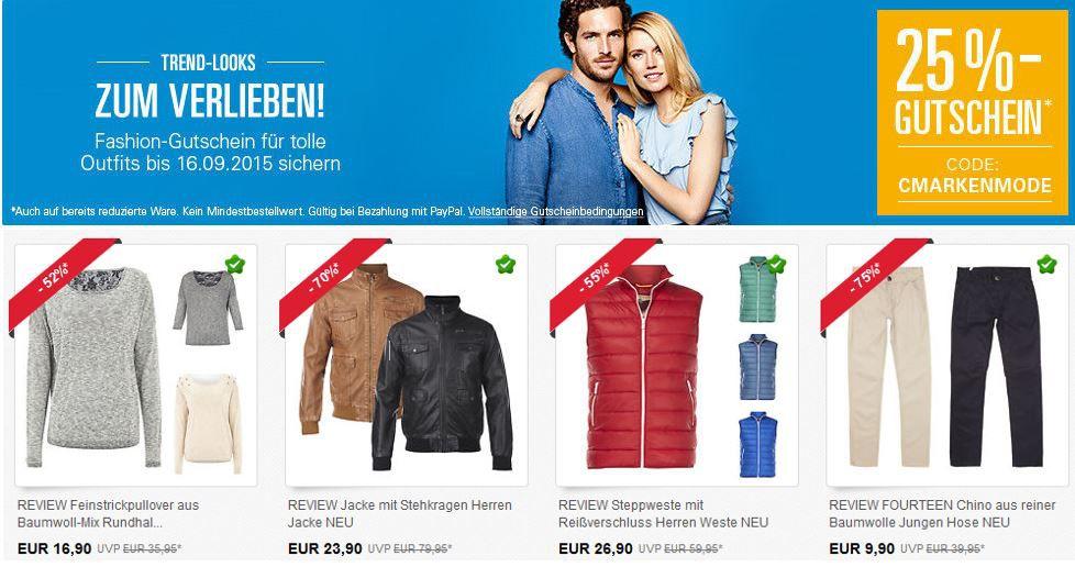 25% Fashion PayPal Gutschein bei ebay auf ausgewählte Kleidung. *Hot!*