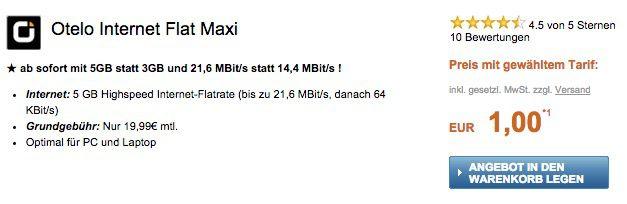 otelo 5GB Internet otelo 5GB bis  21,6 Mbit/s Internet Flat mit 240€ Auszahlung