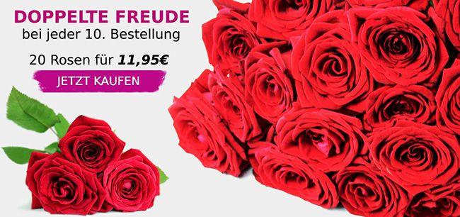 20 Rote Rosen mit 50cm Länge für 16,90€   jede 10. Bestellung mit 40 Rosen!