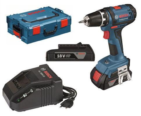 Bosch GSR 18 2 LI Akku Bohrschrauber + 2 x 1,5 Ah Akkus, L BOXX + Schnellladegerät für 111€