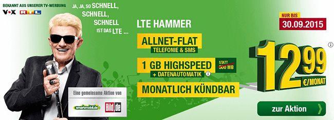 smartmobil LTE Hammer o2 1GB LTE mit Allnet Flat für 12,99€ pro Monat   monatlich kündbar!