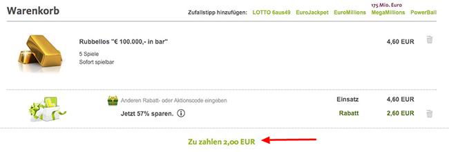 Lottoland: 5 Rubellose für 100.000€ in Bar für nur 2€   für Neu  und Bestandskunden