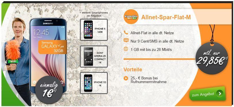 Samsung Galaxy S6 32GB + Telekom Allnet Spar Flat M + 1 GB Daten für 30,72€ mtl.