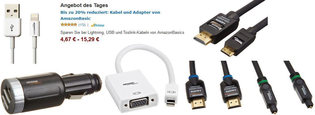 Bis zu 20% reduziert: Kabel und Adapter von AmazonBasic
