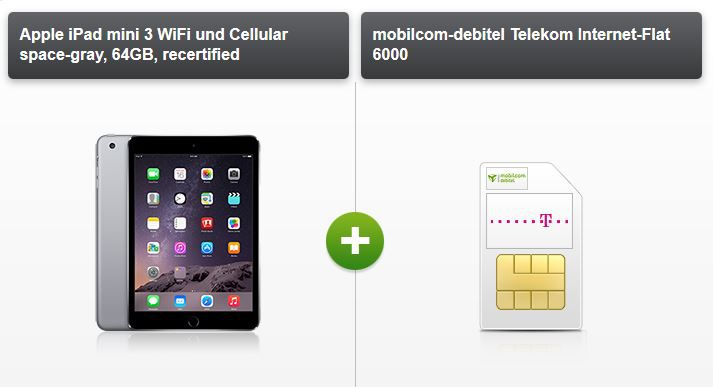6 GB Telekom LTE Datenflat bis 50 MBit/s + Apple iPad mini 3 Cellular ab 24,12€ mtl.