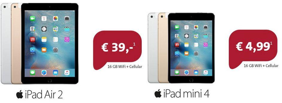 Vodafone DataGo L (6GB) – iPad Air 2 WiFi + Cellular oder iPad Mini 4 + Cellular für 25€