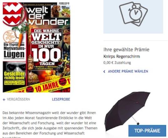 Welt der Wunder Probeabo mit 3 Ausgaben für 7,50€ + Knirps Regenschirm (Wert 30€)