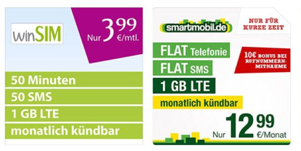 winSIM LTE Mini 1000 für 3,99€ monatlich   50 Min, 50 SMS, 1GB LTE