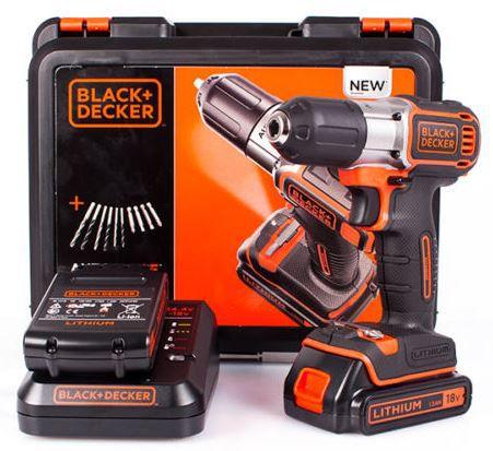 Black Decker ASD18KBA10 Black & Decker ASD18KBA10   Akkuschrauber inkl. 2 Lithium 18V Akkus + Bit & Bohr Set für 99€