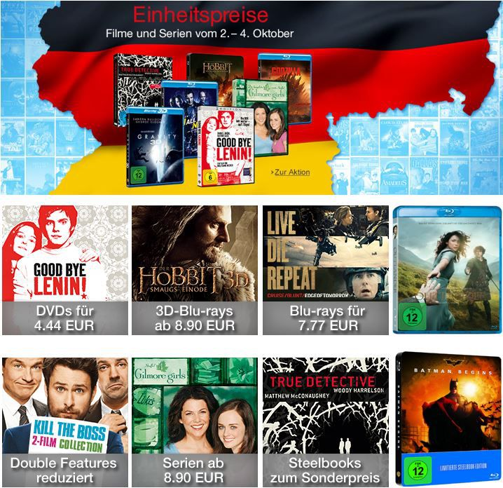 Blu ray Aktion Steelbooks zum Sonderpreis bei den 3 Tage Einheitspreisen @Amazon DVD und Blu ray Aktionen