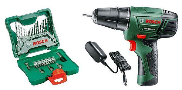 Bosch PSR 108 LI Bosch PSR 10,8 LI Akkuschrauber + 33 teiliges Bit  und Bohrerset für 69,90€