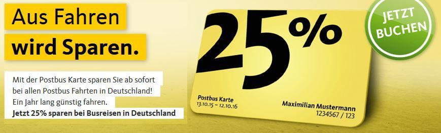 Postbus Karte 25   ein Jahr mit 25% Rabatt mit den Postbussen reisen