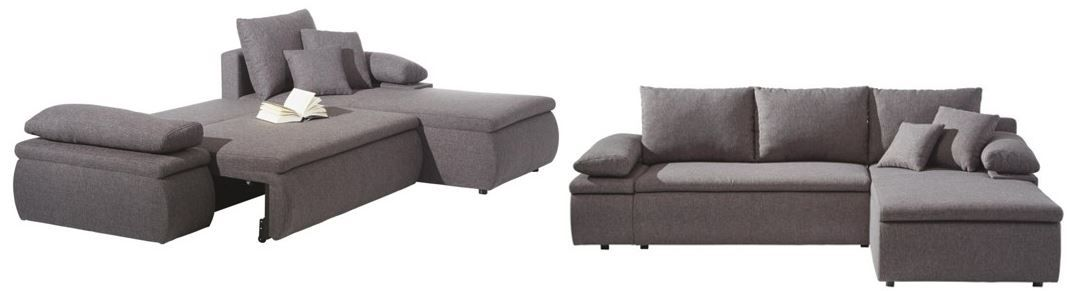 CARRYHOME   graue Wohnlandschaft (B/H/T: 274/85/180 cm) für nur 299€