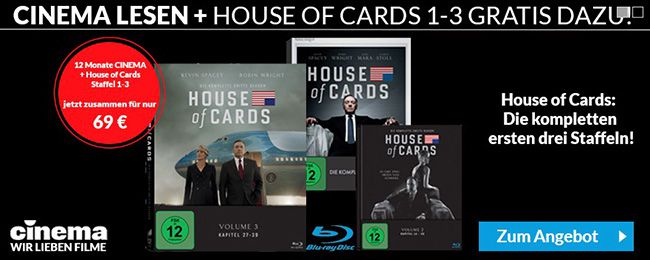 CINEMA Jahresabo + House of Cards Staffel 1 3 auf Blu ray für 69€