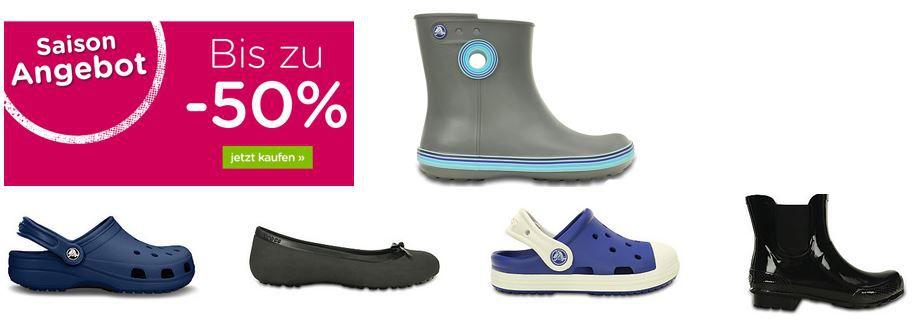 Crocs Sale mit 50% Rabatt auf ausgewählte Schuhe + 10% Rabatt + 5€ Gutschein + VSK frei