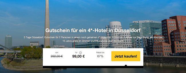 Düsseldorf Gutschein 3 Tage Düsseldorf für 2 Personen im 4 Sterne Hotel mit Frühstück für 99€