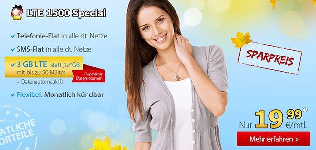 DeutschlandSIM LTE 1500 Special DeutschlandSIM LTE 1500 Special (Allnet Flat + 3GB LTE) für 19,99€ monatlich