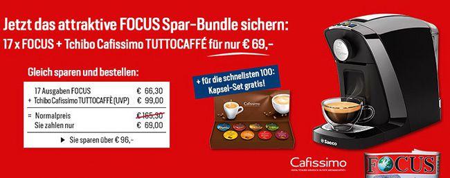 17 Ausgaben FOCUS + Philips Cafissimo Tuttocaffè Kaffeemaschine für 71€