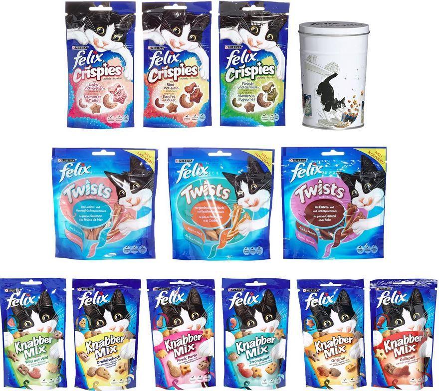 Felix Katzen Multipack Felix Multipack   12 x Katzen Snacks mit gratis Metall Leckerli Dose ab 10,99€