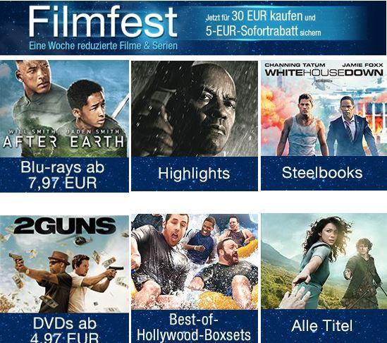 Filmfest   Eine Woche reduzierte Filme & Serien bei Amazon mit 5€ sofort Rabatt ab 30€