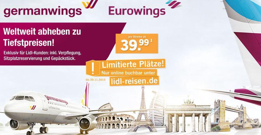 günstige Germanwings Tickets (inkl. Gebühren, EU) jetzt @Lidl ab 39,99€