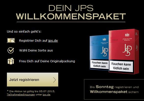 Gratis Zigaretten Gratis Zigaretten   JPS RED oder JPS BLUE geschenkt