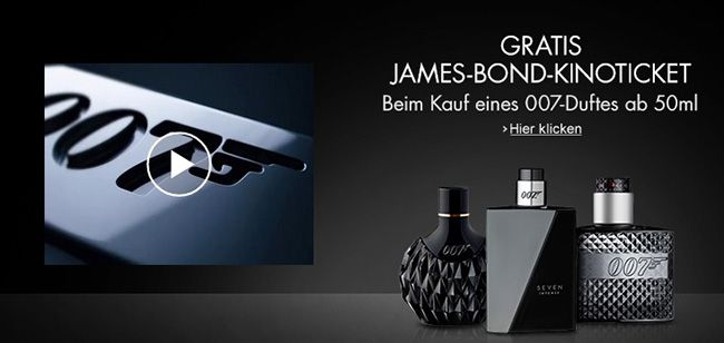 James Bond 007 Duft Kostenloses Kinoticket für James Bond   Spectre beim Kauf eines 007 Duftes bei Amazon