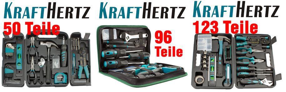 Krafthertz Wow Krafthertz   Werkzeugkoffer mit 50 oder 96 Teilen für je 14,99€