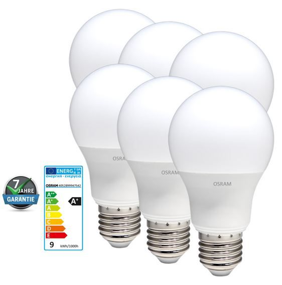 LED 6er Pack Osram Star Classic   E27 LED 10W Lampe, warmweiß im 6er Pack für 29,99€