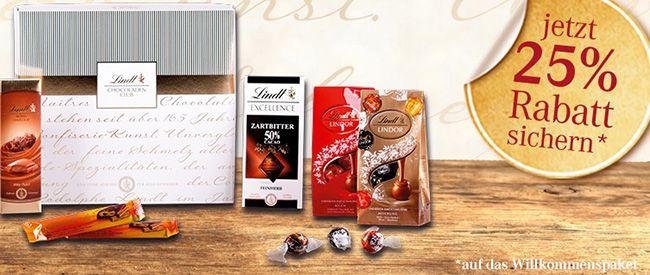 Lindt Chocoladen Club 25% Rabatt auf die erste Bestellung im Lindt Chocoladen Club