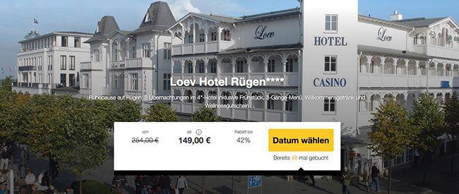 Loev Hotel Rügen 4 Tage Ostsee im 4 Sterne Hotel mit Frühstück & 3 Gänge Menü ab 149€ p.P.