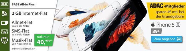 iPhone 6s 16GB + BASE All in Plus Tarif mit 2GB UMTS ab 39,71€ monatlich