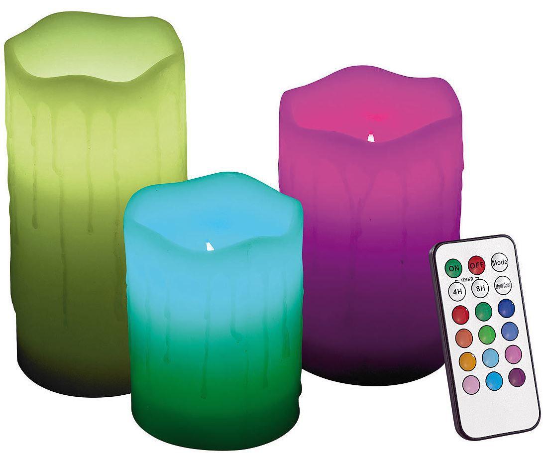 Lunartec Lunartec Echtwachskerzen mit Farbwechsel LED & Fernbedienung im 3er Set für 14,90€