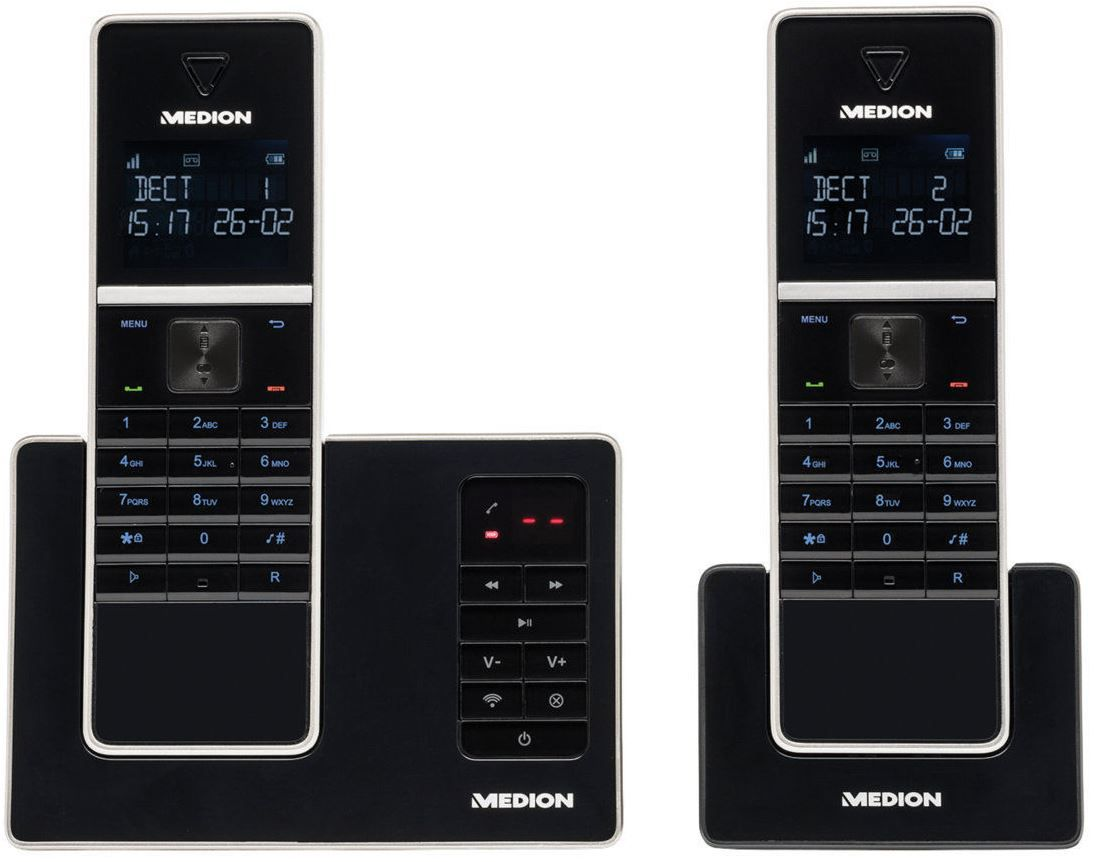 Medion Telefon MEDION LIFE P63040   2er Set DECT schnurlos Telefon mit AB für 29,99€