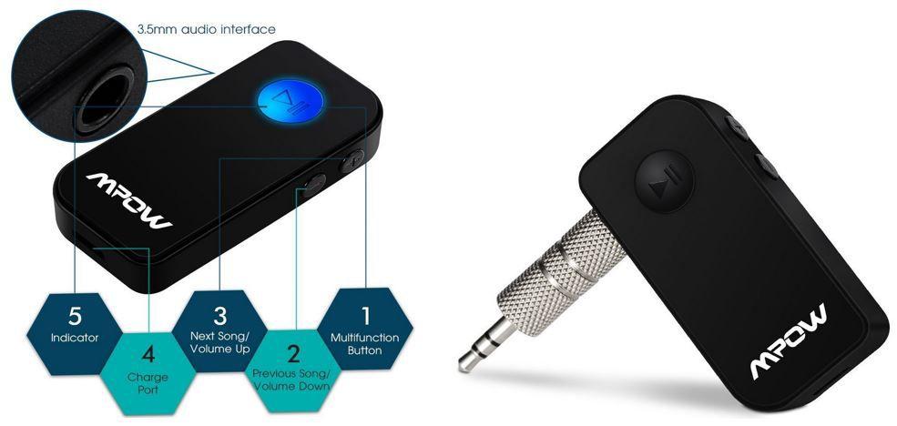 Mpow   mobiler Bluetooth 4.1 Transmitter mit Freisprech Funktion für 10,99€ (statt 15€)