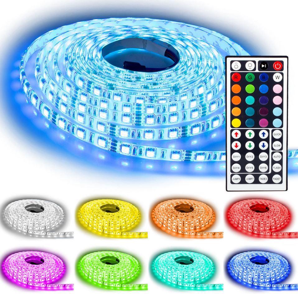 NINETEC Flash60   5m RGB LED Strip mit Fernbedienung & Netzteil für 11,39€ (statt 28€)