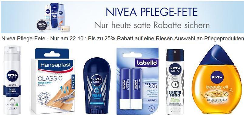 Nivea Aktion Heute 25% Rabatt auf über 400 Nivea Pflegeprodukte