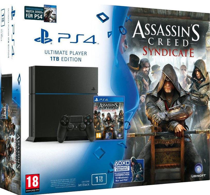 PlayStation 4   CUH 1216 mit 1TB Speicher + Assassins Creed Syndicate + Watch Dogs für nur 359,90€