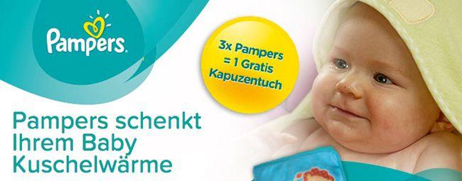 Kostenloses Kapuzenhandtuch beim Kauf von 3 Packungen Pampers Windeln bei Rossmann